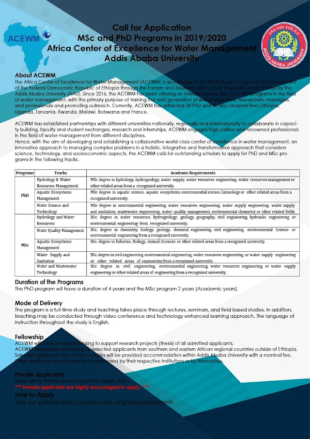 MSc and PhD Programs in 2019/2020 - Africa Center of Excellence for Water Management at Addis Ababa University (Deadline: May 31, 2019)