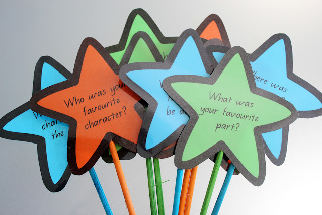 FREE Reading comprehension story wands   How I organise my guided reading tub for reading groups   classroom organisation   free printables   literacy groups   questioning   teach students to ask questions while reading  