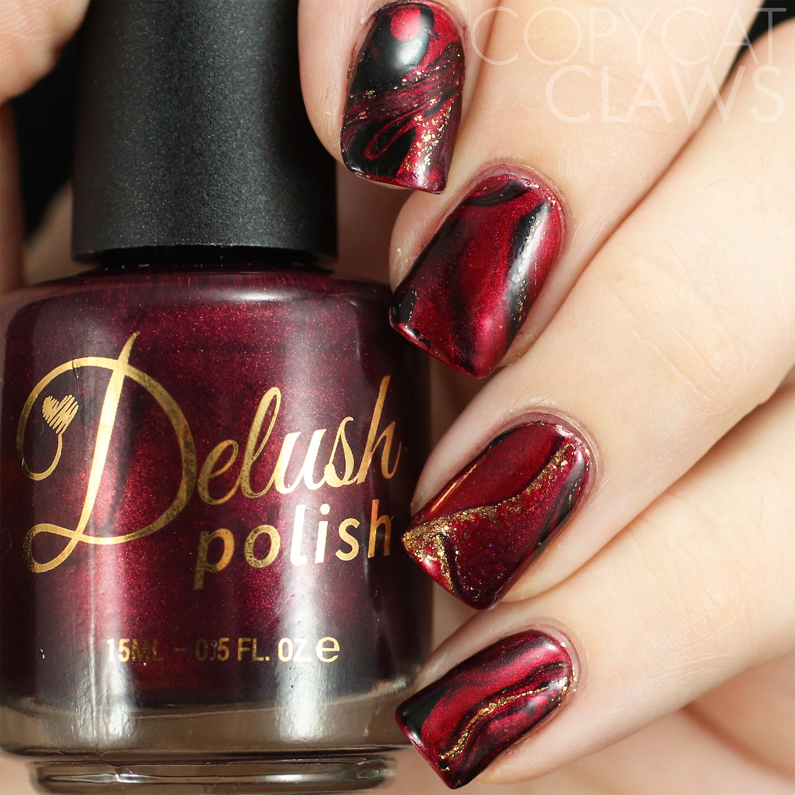 Copycat Claws: The Digit-al Dozen does Vampy: Red and Black Drip Marble