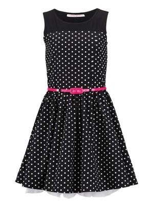 Freespirit Girls Spot Prom Dress with Pink Belt