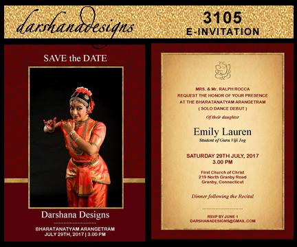 darshanadesigns Arangetram E-Invitation Templates