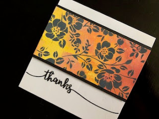Hand Made Thanks Card with Floral Inked Stencil Design