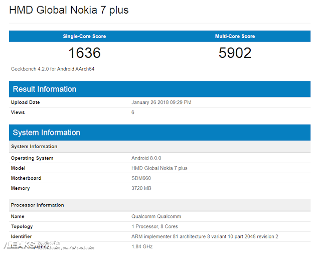 Nokia 7 Plus spotted on geekbench