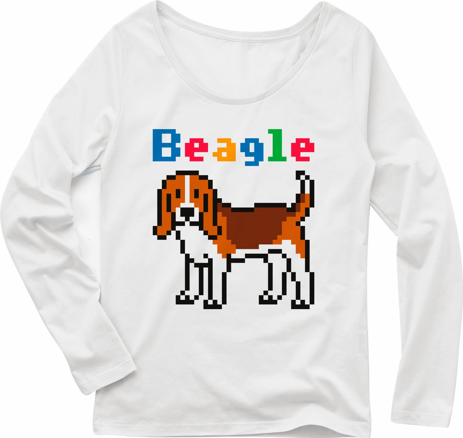 Pixel Party Boy「Beagle犬索」[Girls Boat-neck LongTee] ボートネック・ロングスリーブTシャツ 4.3oz | T-SHIRT COUNCIL
