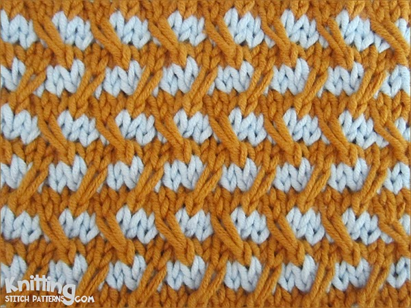Two-Colour Diagonal Weave. Like all slip stitches, it compresses in height, so it's good for warm outerwear.