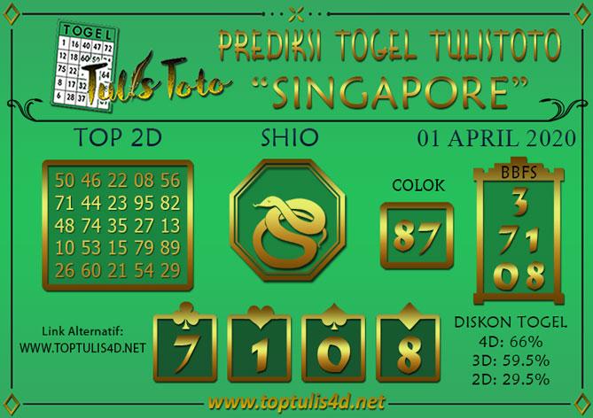 Prediksi Togel SINGAPORE TULISTOTO 01 APRIL 2020