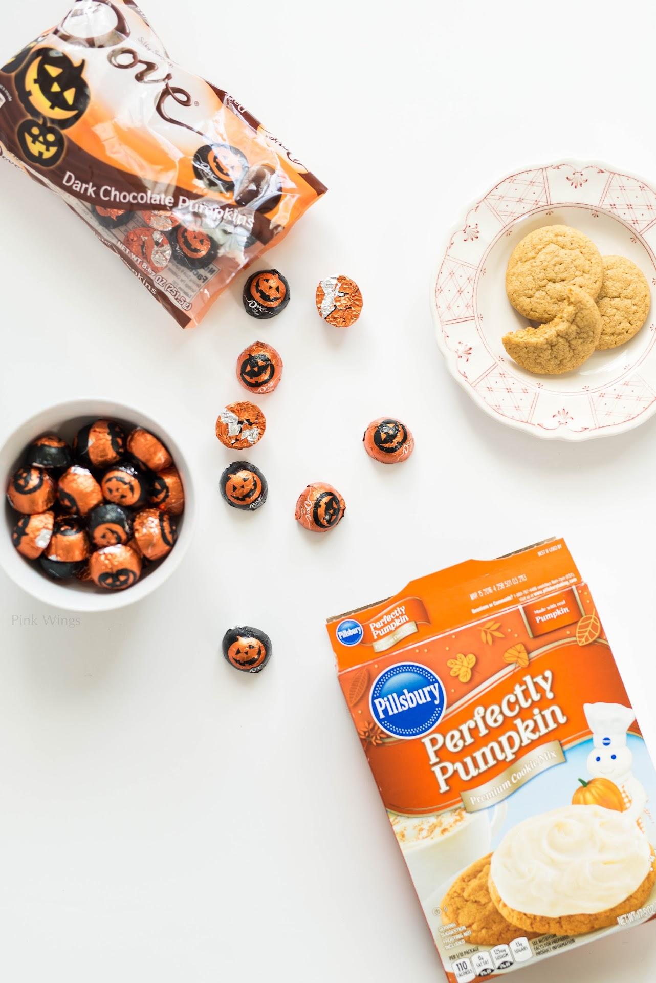 DOVE dark chocolate pumpkins, dove ganache, pillsbury perfectly pumpkin cookie mix, cake mix hacks, lds mormon food blogger