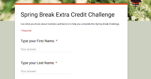 Spring Break Extra Credit Challenge
