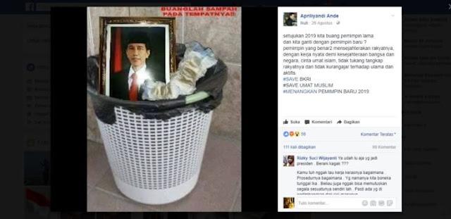 Membuang Foto Presiden Jokowi ke Tempat Sampah, Akun Ini Dikecam waganet