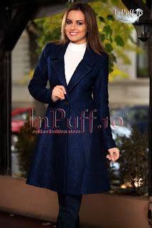 Palton dama de iarna elegant trei sferturi lana bleumarin