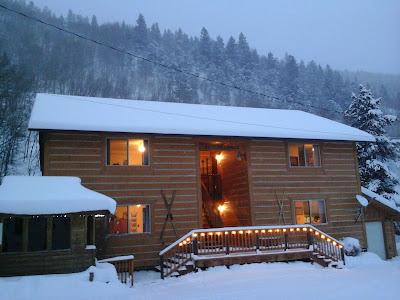 Exterior snowy winter day at Ski Town Condos.