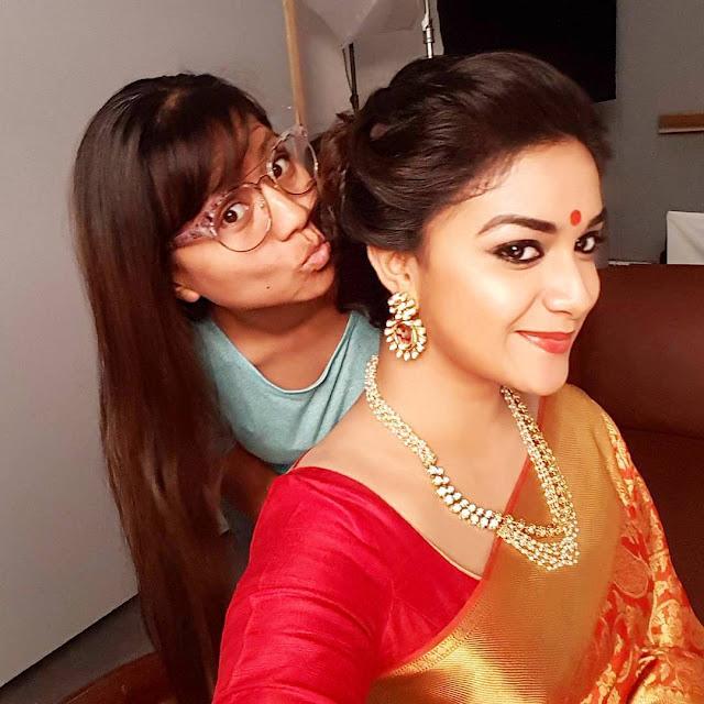 Actress Keerthy Suresh on the Sets of Mahanati Movie Stills