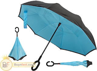 Double Layer INVERTED / REVERSIBLE Stick Umbrella - Windproof - Your Best Companion In A Rainy Day