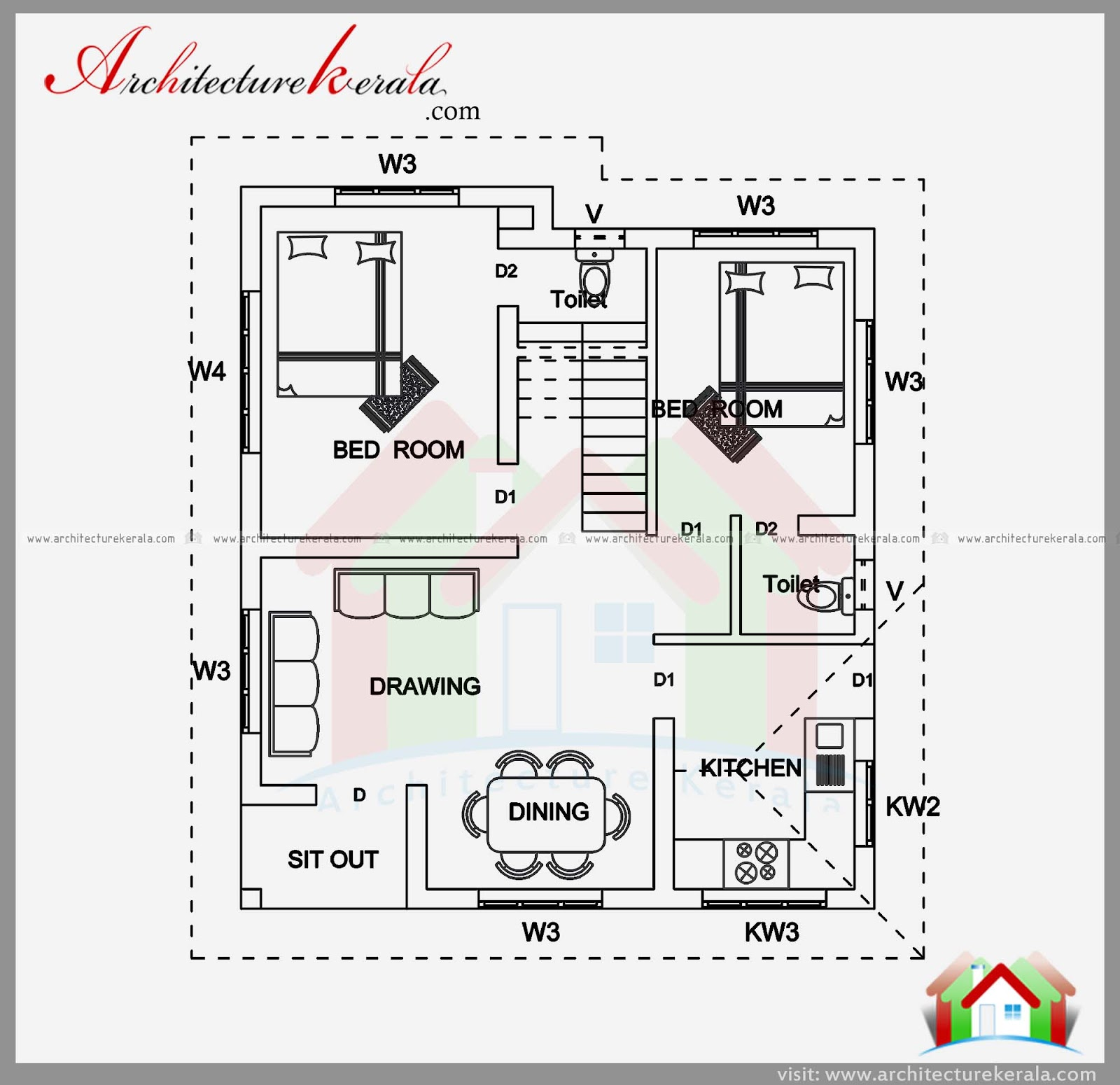 2 bedroom house plan and elevation in 700 sqft for Two floor house plans in kerala