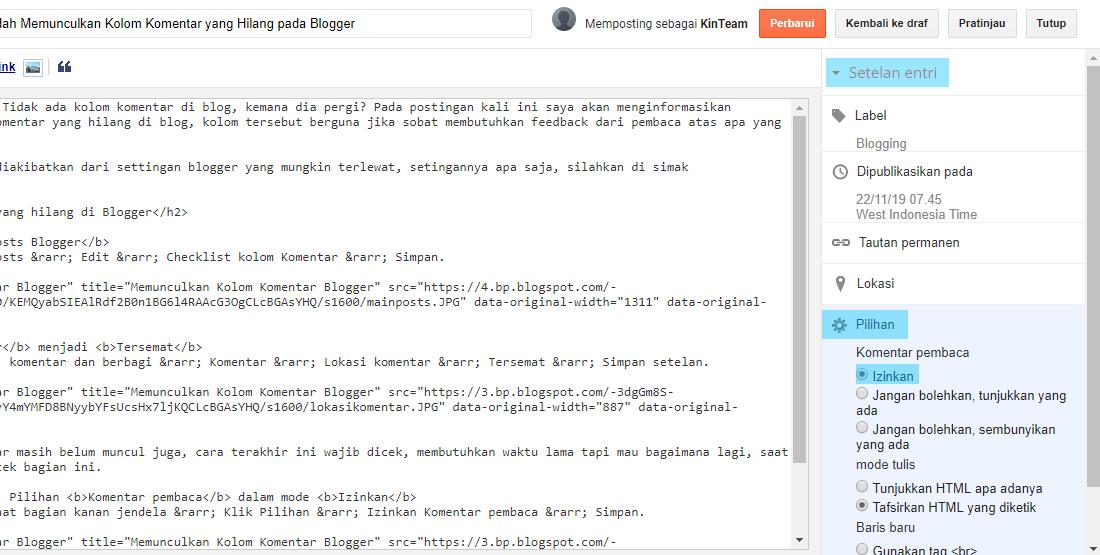 Memunculkan Kolom Komentar Blogger