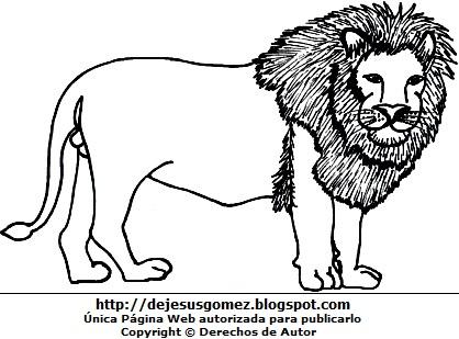Imagen de un león sin pintar o colorear imprimir. Dibujo de león hecho por Jesus Gómez