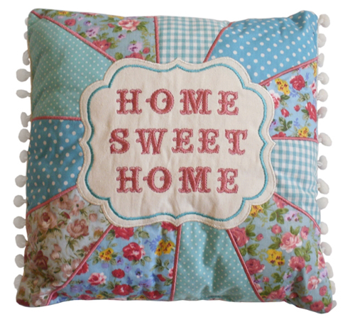 Home+Sweet+home+patchwork+blue+floral+polka+dot+cushion Sh