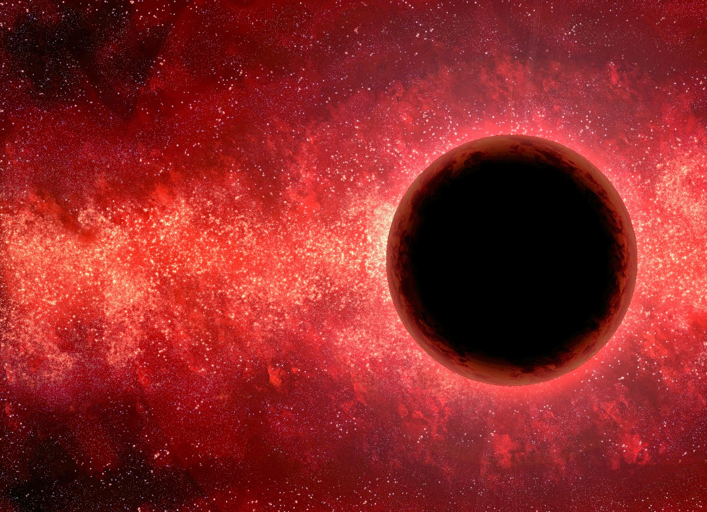 Black, dark red, and a starfield