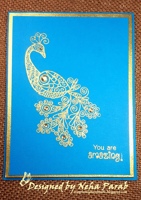 Peacock Card by August Guest Designer Neha Parab | Beautiful Plumage Stamp set by Newton's Nook Designs #newtonsnook