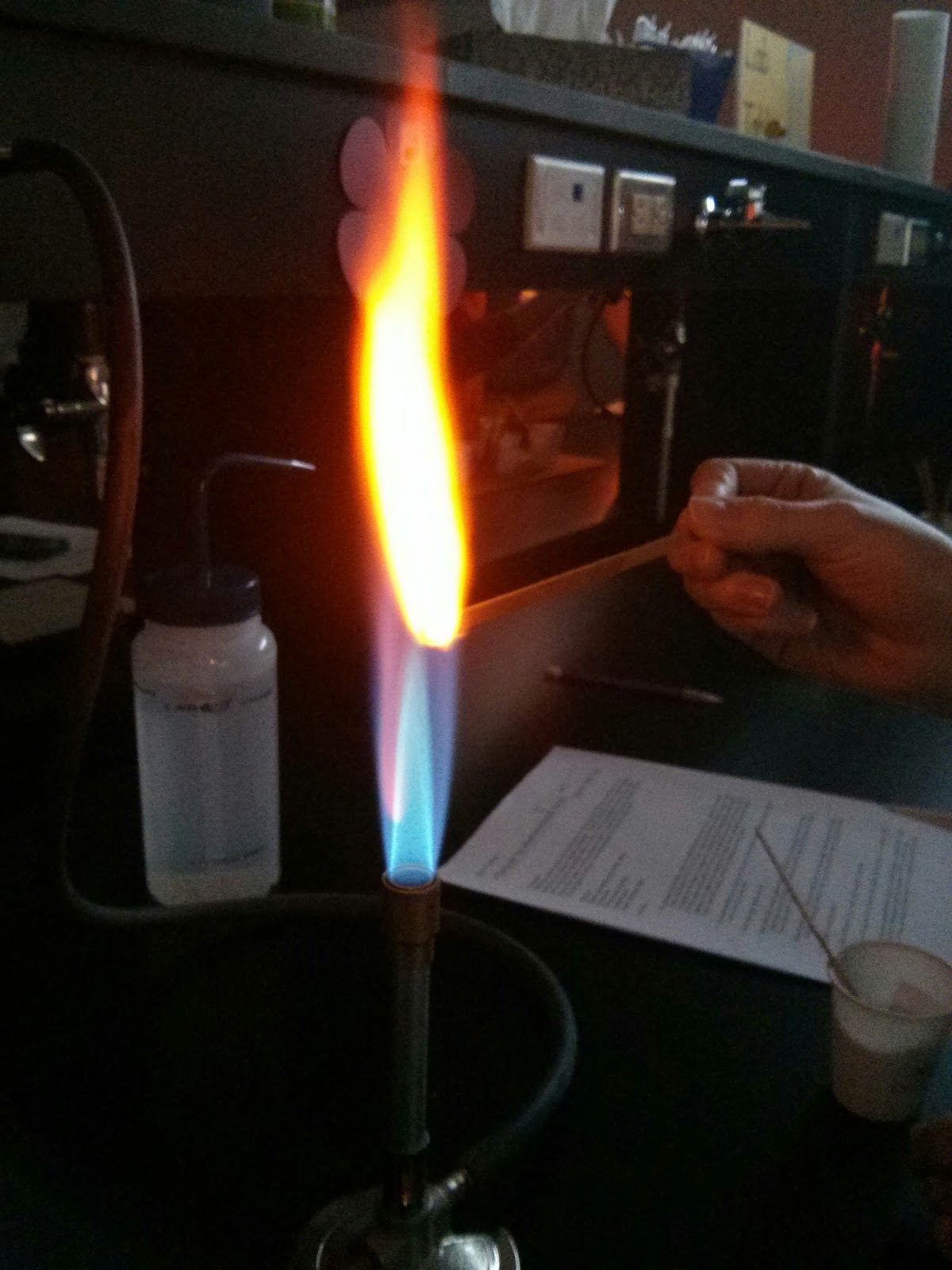 chemistry flame test Academic chemistry lab: flame tests in this investigation, you will perform flame tests on seven metallic ions, and then use your ) flame tests ).