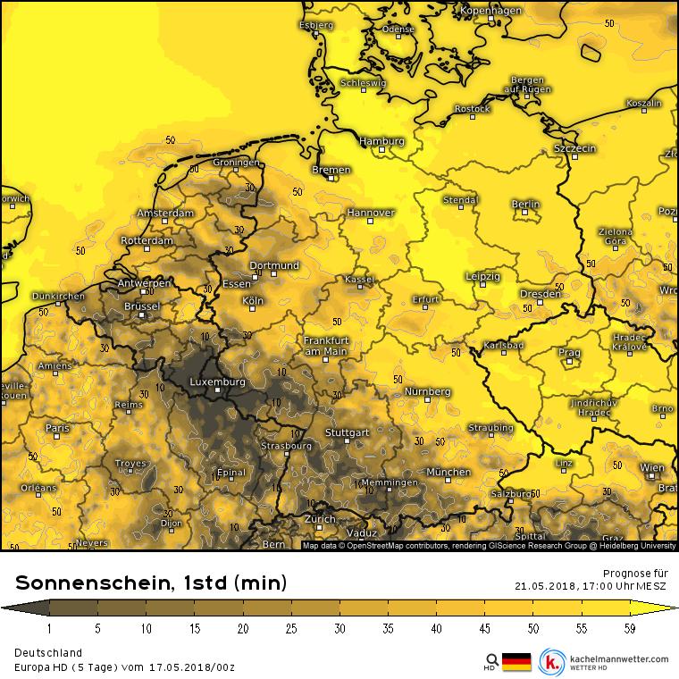 Sonnenscheindauer Pfingstmontag, 16-17 Uhr nach dem Euro HD Vorhersagemodell. Quelle: kachelmannwetter.com