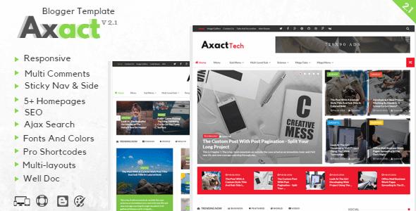Axact Responsive Magazine Theme - Axact v2.1 Responsive Premium Template Blogger Magazine