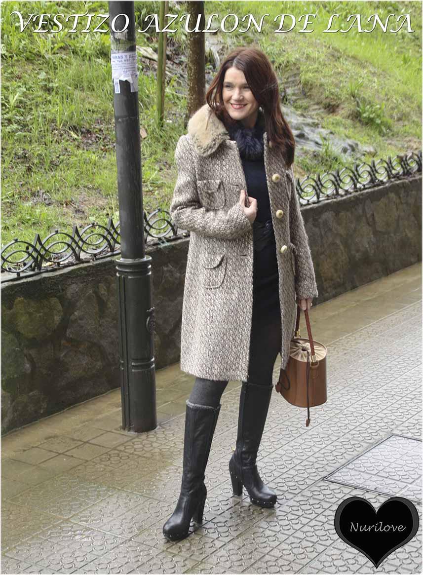 Vestido azulón de lana con cuello de pelo, cómodo, elegante y calentito