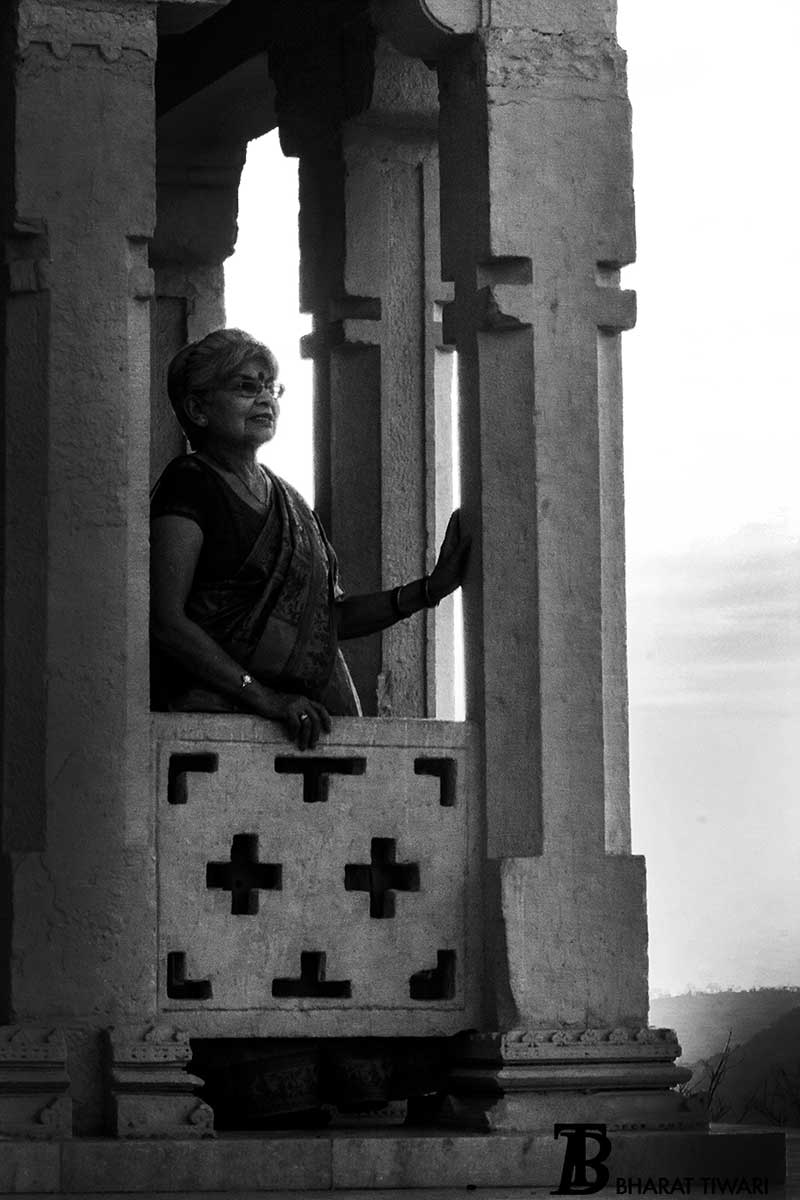 Majari Sinha admiring the beauty of Chanderi from Chanderi fort —  Photo © Bharat Tiwari