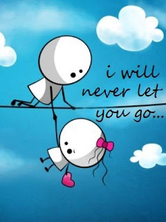 cute cartoons hanging on wire and saying never let you go