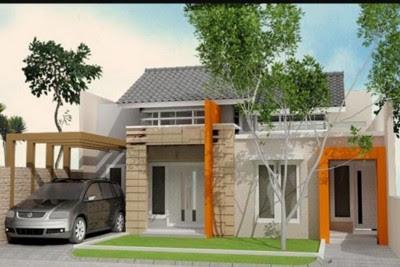 contoh Tampak Depan Rumah Minimalis modern 2 Lantai