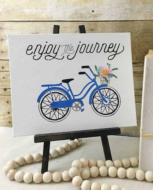 Vintage Paint and more... Enjoy the ride transfer done in chalk on a board back artist canvas