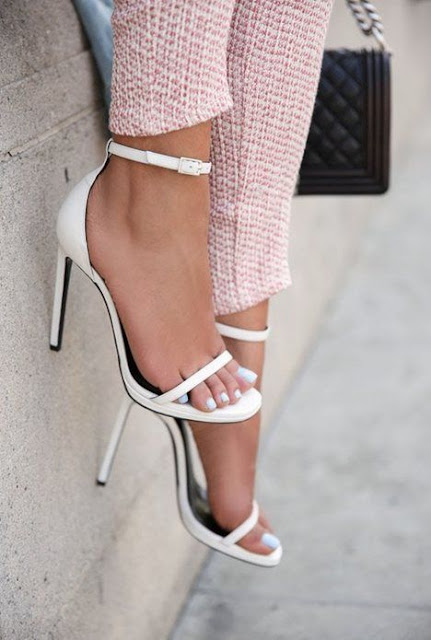 Viva Luxury White Heel Sandals