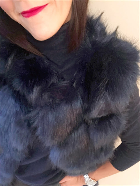 My Midlife Fashion, Faux fur gilet, boden woollen polo neck, marks and spencer faux leather a line skirt, clarks caddy belle over the knee boots