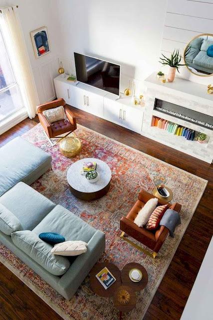 100 Cozy Farmhouse Living Room Rug Decor Ideas