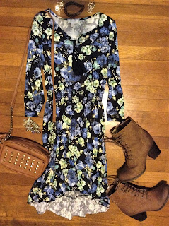 floral hi-lo dress outfit of the day