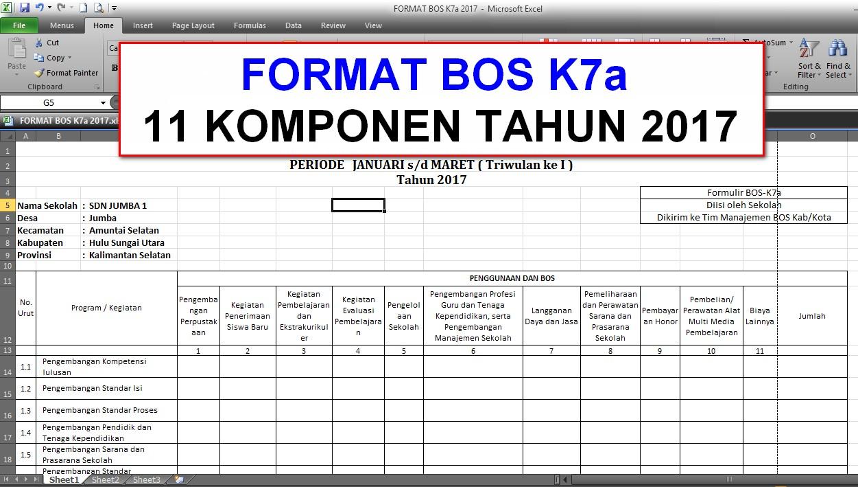 Download Format Bos K7a Terbaru Sesuai Juknis Bos 2017 Nurul Fajri