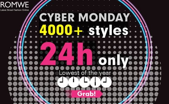 Romwe Cyber Monday sale, 2nd December!  4000+ styles, from $1.99, only 24 hours!