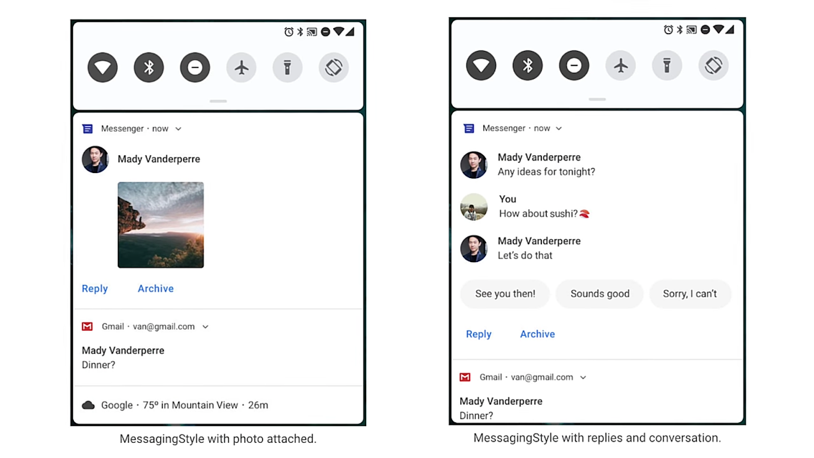 The notifications panel with smart replies
