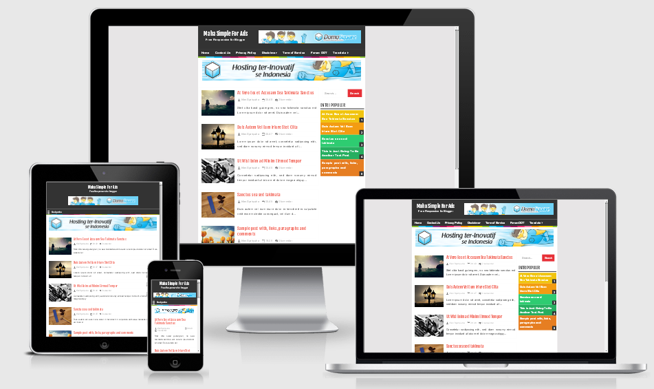 Maha Simple For Ads Free Responsive Blogger Template
