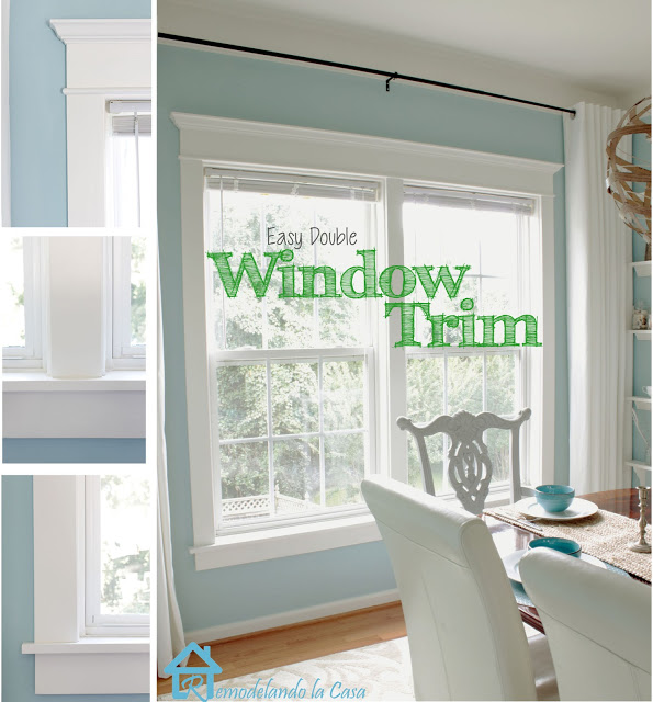 two closed by windows get trimmed, blue dining room