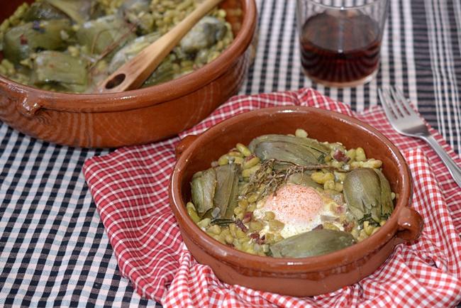 Cazuela de alcachofas y flageolets verts
