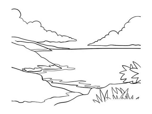 Gambar Mewarnai Pemandangan Pantai - 3