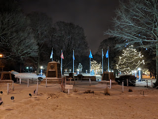 Town Common memorials at night
