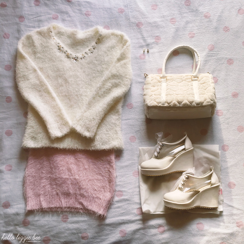 pink and white christmas outfit