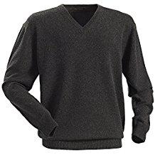 Royal Spencer Herren-Pullover mit V-Ausschnitt aus Kaschmir-Seide, Kaschmirpullover Grau / Anthrazit, toller Winterpullover, angenehm zu tragen (Gr: M - XXL)
