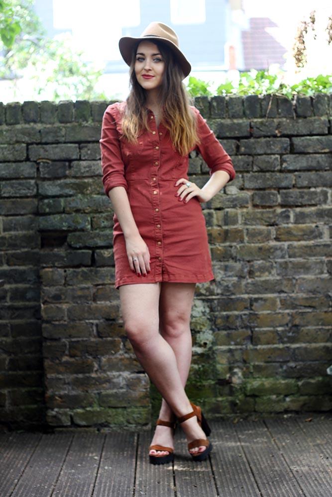 ASOS rust denim dress