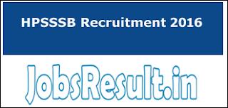 HPSSSB Recruitment 2016