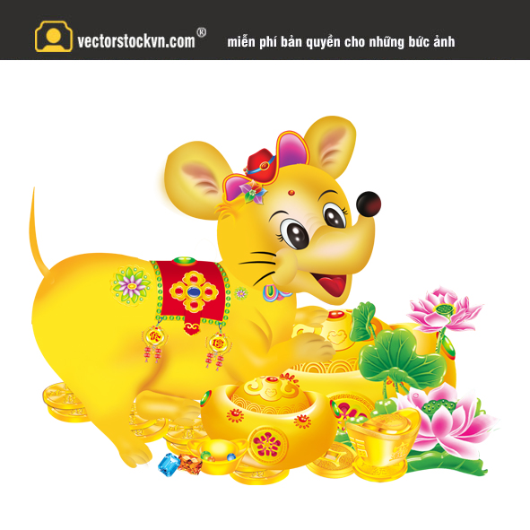 Vector con chuột vàng 2020 file in lịch tết