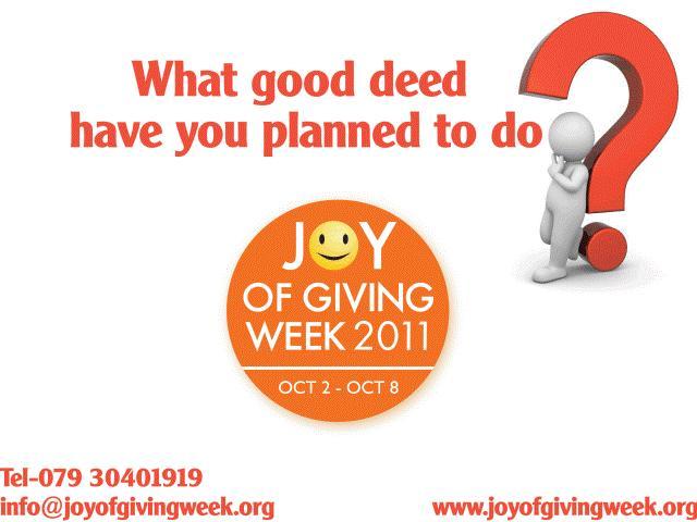 Joy In Giving: The Joy Of Giving Week: September 2011