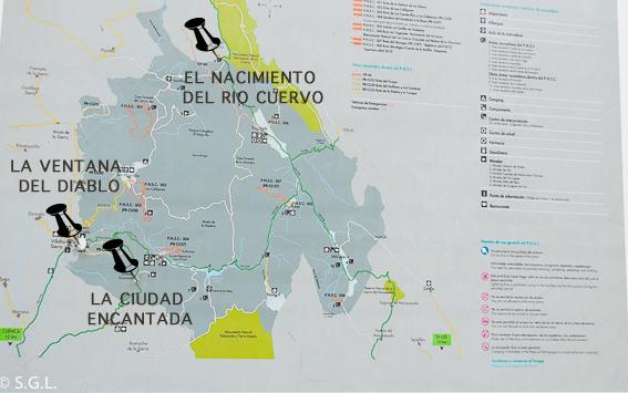 Mapa serrania de Cuenca. Excursion al nacimiento del rio Cuervo